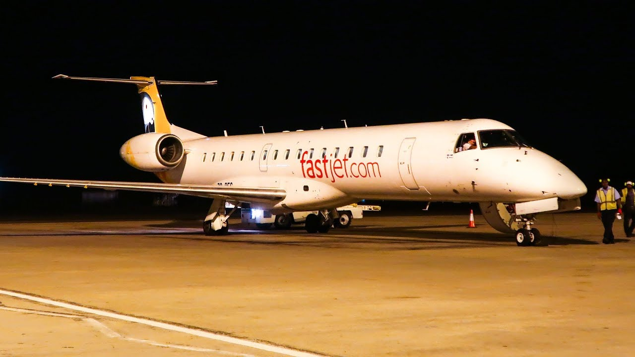 Fastjet plane lands at night